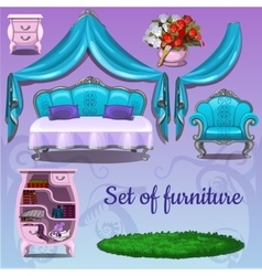 Set of furniture on a pink background vector image vector image