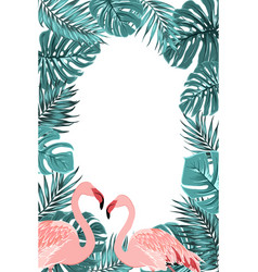 tropical border frame turquoise leaves flamingo vector image vector image