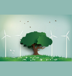 Alone tree on the field with wind mill vector