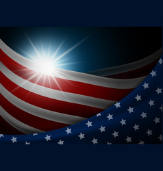american or usa flag with light background vector image