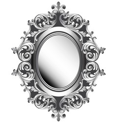 Baroque silver mirror frame french luxury vector