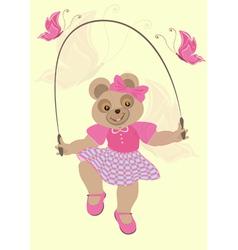 Bear Girl in crimson dress and butterflies vector image