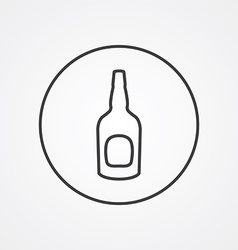 beer bottle outline symbol dark on white vector image