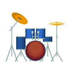 Big drum set in blue corpus on metal stands vector