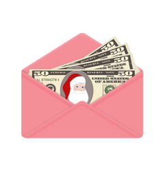 bill one hundred dollars with santa claus in open vector image