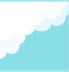 Blue sky fluffy white cloud in corner frame vector