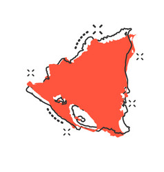 cartoon nicaragua map icon in comic style vector image