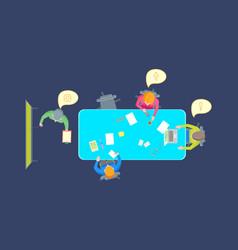 cartoon teamwork brainstorming top view vector image