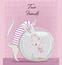 cat and fish in aquarium vector image