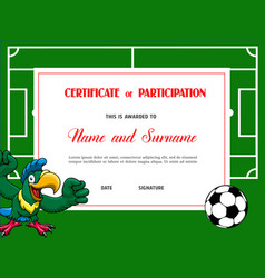 Certificate for soccer tournament participation vector