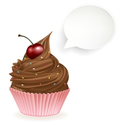 Chocolate Speech Bubble Cupcake vector image