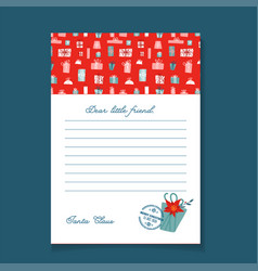 christmas letter from santa claus template vector image