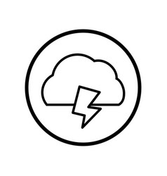 cloud and thunder icon in circle line - vector image