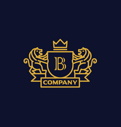 Coat arms letter b company vector