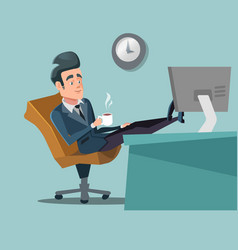 Coffee break businessman relaxing vector