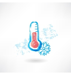 Cold thermometer grunge icon vector image