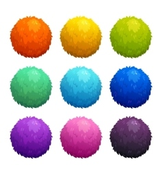 Colorful cartoon furry balls vector