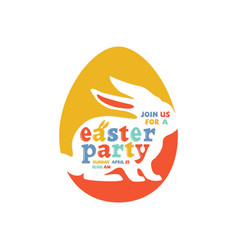 colorful easter party lettering vector image