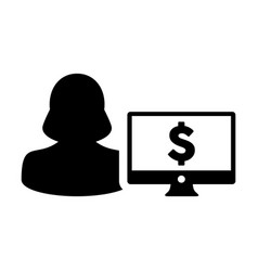 Computer icon female person user avatar with vector