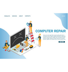 computer repair website landing page design vector image
