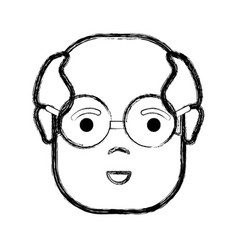 Contour old face man with glasses and surprised vector
