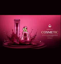 Cosmetic bottles mock up perfume and cream tubes vector