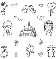 Cute doodle wedding party vector