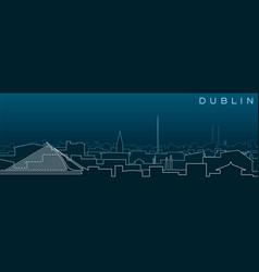 Dublin multiple lines skyline and landmarks vector