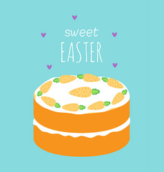 Easter card with cute carrot cake vector