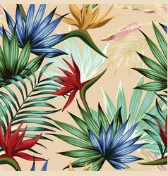 exotic multicolor tropical jungle seamless beige vector image