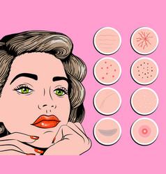 Facial problem acne pimples wrinkles vector