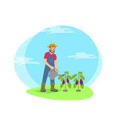 farmer watering plants in garden cartoon icon vector image