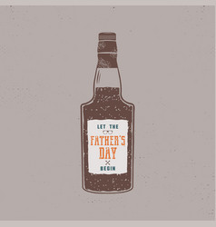 fathers day label design rum bottle with sign - vector image