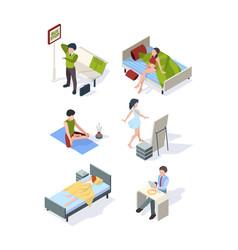 Female daily routine housewife making homework vector