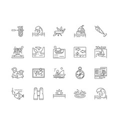 Fishing tours line icons signs set vector
