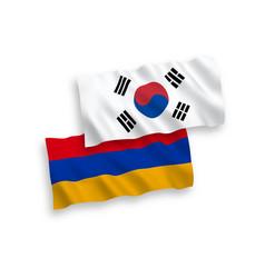 Flags south korea and armenia on a white vector