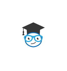 graduation hat face smile with glasses vector image