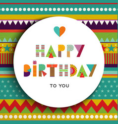 Happy birthday party color typography card vector