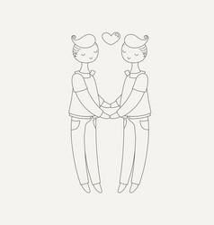 happy gay couple boys in love vector image