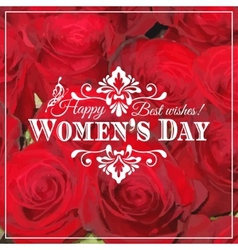 Happy Womens Day 8 March on unfocused floral vector image