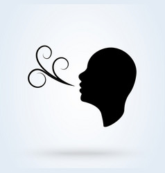 Having breath difficulties simple modern icon vector