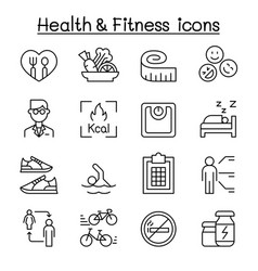 heath fitness diet icon set in thin line style vector image