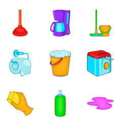 Home cleaning icons set cartoon style vector