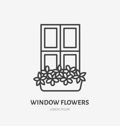 house flowers in flower pots on window flat line vector image