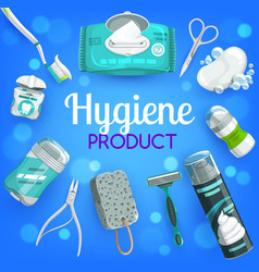 Hygiene products soap brush toothpaste vector