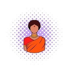 Indian woman in traditional Indian sari icon vector