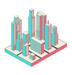 Isometric city center on the map with lots of vector