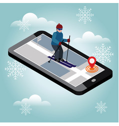 isometric man skiing searching for cross country vector image
