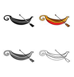 Italian gondola icon in cartoon style isolated on vector