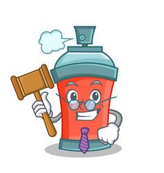 Judge aerosol spray can character cartoon vector